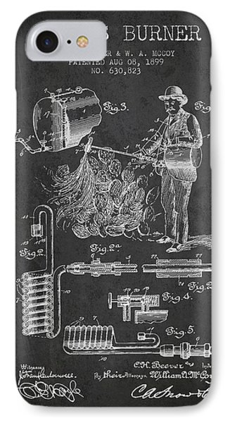 Cactus Burner Patent From 1899 - Charcoal IPhone Case by Aged Pixel