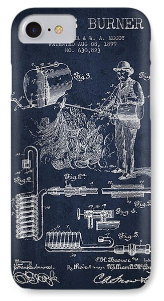 Cactus Burner Patent From 1899 - Navy Blue IPhone Case by Aged Pixel