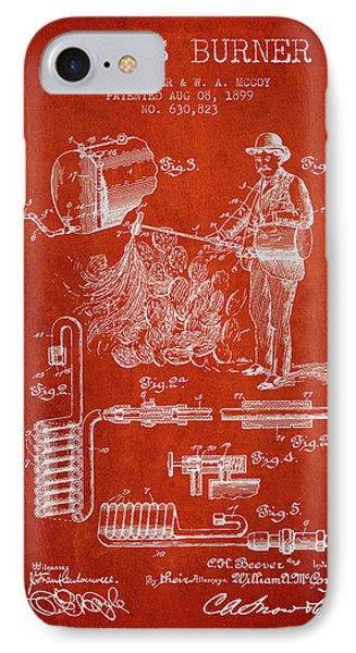 Cactus Burner Patent From 1899 - Red IPhone Case by Aged Pixel