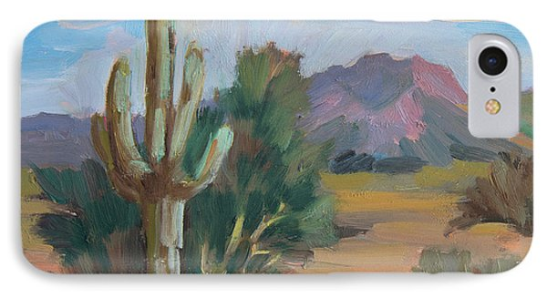 IPhone Case featuring the painting Cactus By The Red Mountains by Diane McClary