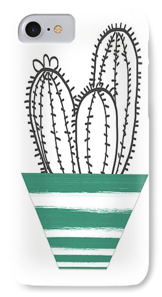 IPhone Case featuring the mixed media Cactus In A Green Pot- Art By Linda Woods by Linda Woods