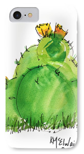 Cactus In The Yellow Flower Watercolor Painting By Kmcelwaine IPhone Case by Kathleen McElwaine