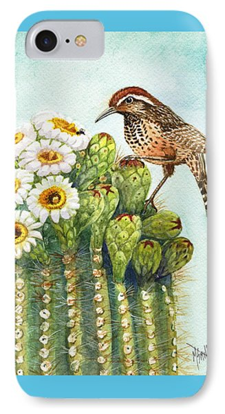 Cactus Wren And Saguaro IPhone Case by Marilyn Smith