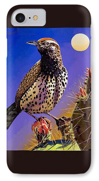IPhone Case featuring the painting Cactus Wren by Bob Coonts