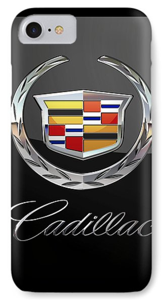 Cadillac - 3 D Badge On Black IPhone Case by Serge Averbukh