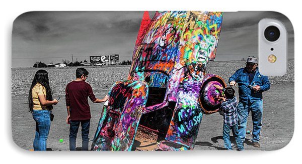 IPhone Case featuring the photograph Cadillac Ranch Spray Paint Fun Along Historic Route 66 By Amarillo Texas by Randall Nyhof