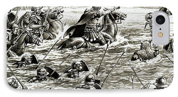 Caesar's Legions Crossing The Thames IPhone Case by Pat Nicolle