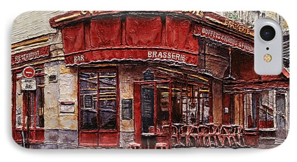 Cafe Des 2 Moulins- Paris IPhone Case by Joey Agbayani