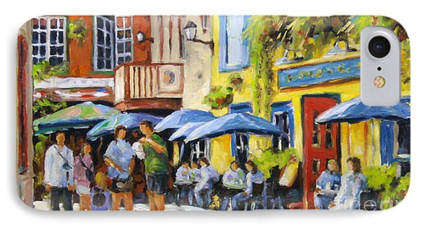 Cafe In The Old Quebec IPhone Case by Richard T Pranke