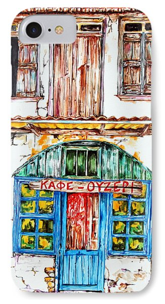 IPhone Case featuring the painting Cafe Ouzeri by Maria Barry