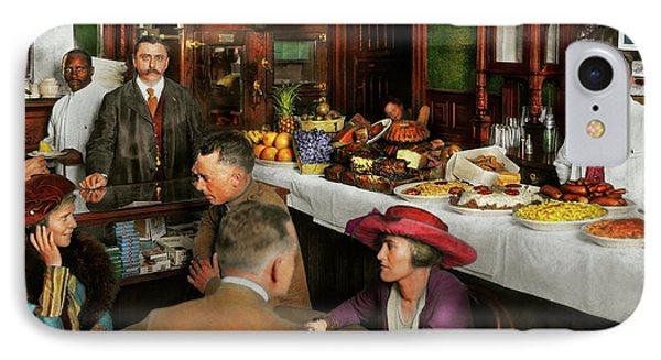 IPhone Case featuring the photograph Cafe - Temptations 1915 by Mike Savad