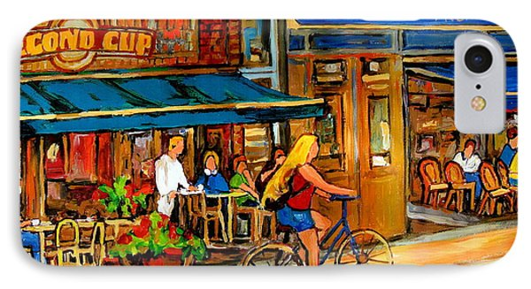 Cafes With Blue Awnings Phone Case by Carole Spandau