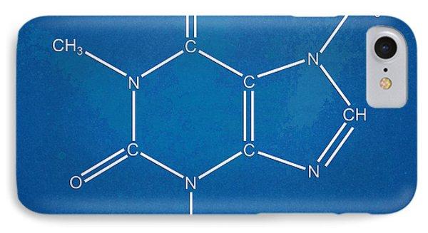Caffeine Molecular Structure Blueprint Phone Case by Nikki Marie Smith