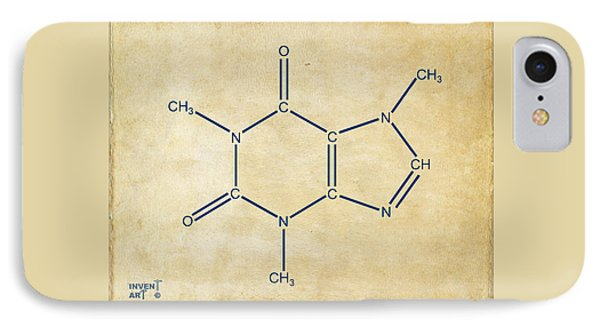 Caffeine Molecular Structure Vintage IPhone Case by Nikki Marie Smith
