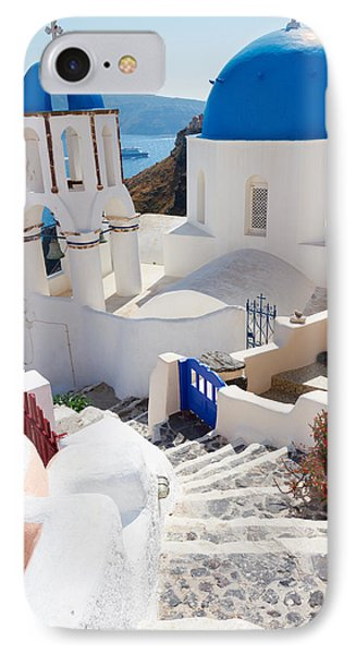 Caldera With Stairs And Church At Santorini IPhone Case by Anastasy Yarmolovich