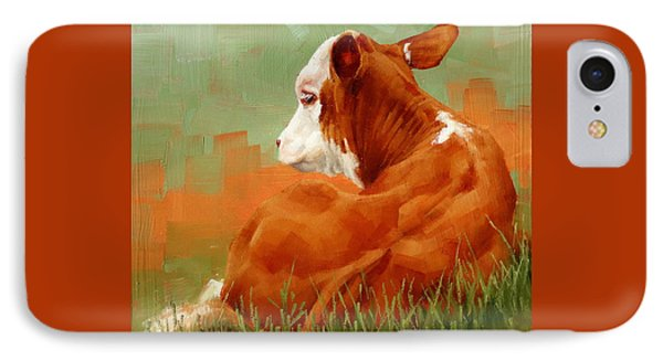 Calf Reclining IPhone Case by Margaret Stockdale