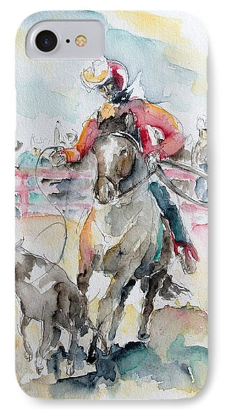 Calf Roping Phone Case by Barbara Pommerenke
