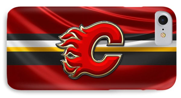 Calgary Flames - 3d Badge Over Flag IPhone Case by Serge Averbukh