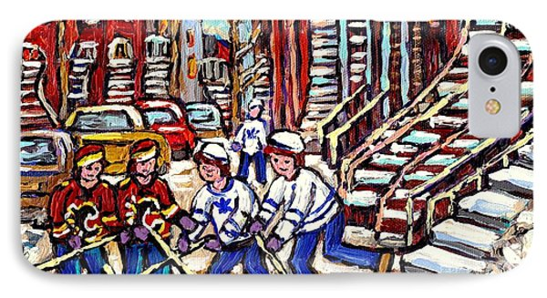 Calgary Flames Vs Maple Leafs Hockey Art Kids Winter Fun Montreal Streets And Staircases Canada Art IPhone Case