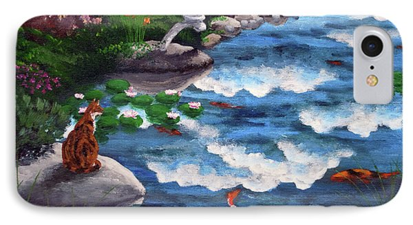 Calico Cat At Koi Pond IPhone Case by Laura Iverson
