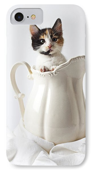 Calico Kitten In White Pitcher Phone Case by Garry Gay