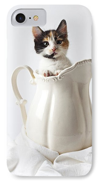 Calico Kitten In White Pitcher IPhone Case