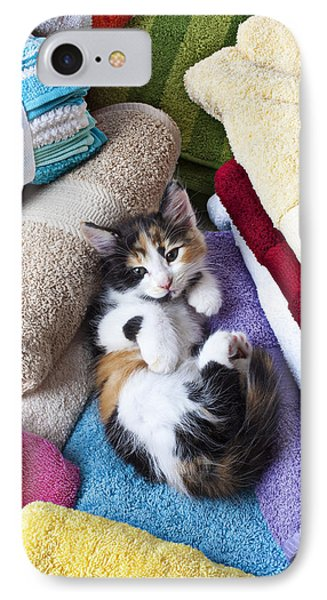 Calico Kitten On Towels Phone Case by Garry Gay