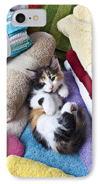 Calico Kitten On Towels IPhone Case