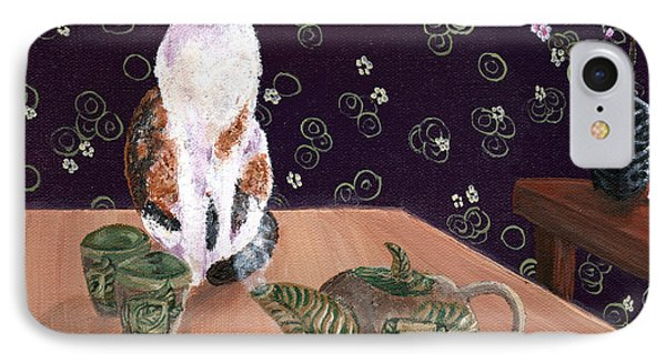 Calico Tea Meditation Phone Case by Laura Iverson