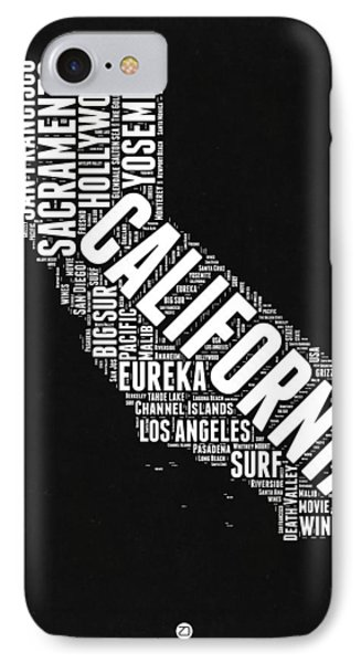 California Black And White Word Cloud Map IPhone Case by Naxart Studio