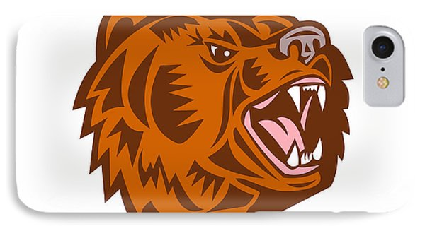 California Grizzly Bear Head Growling Woodcut IPhone Case