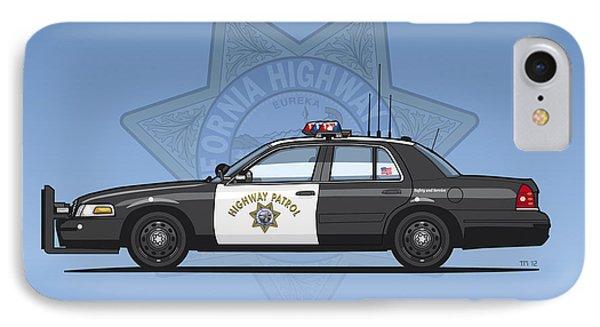 California Highway Patrol Ford Crown Victoria Police Interceptor IPhone Case by Monkey Crisis On Mars