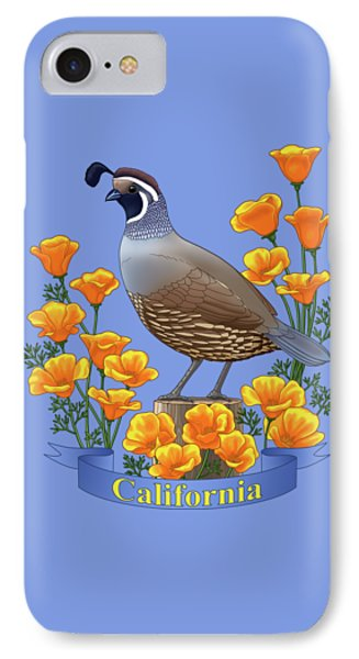 California Quail And Golden Poppies IPhone Case by Crista Forest