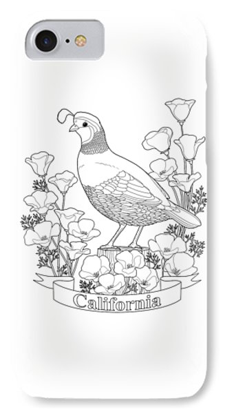 California State Bird And Flower Coloring Page IPhone Case by Crista Forest