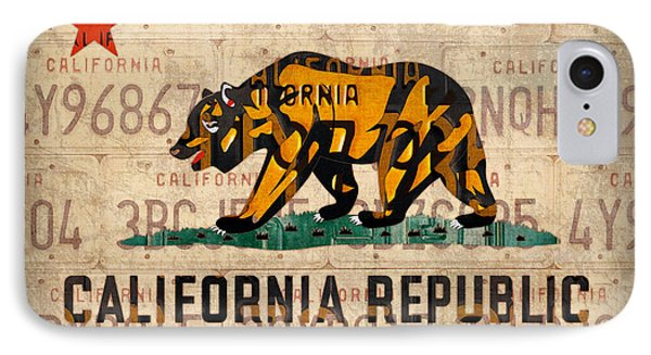California State Flag Recycled Vintage License Plate Art IPhone Case by Design Turnpike