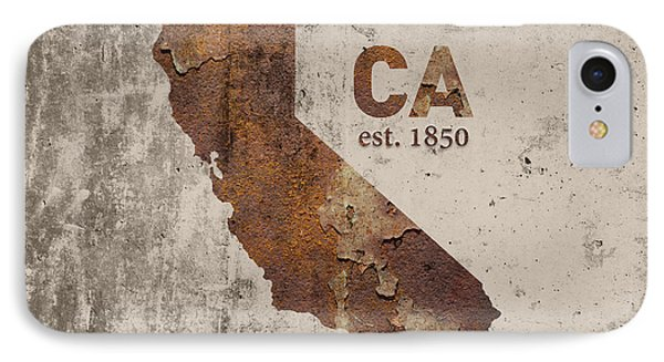 California State Map Industrial Rusted Metal On Cement Wall With Founding Date Series 007 IPhone Case by Design Turnpike