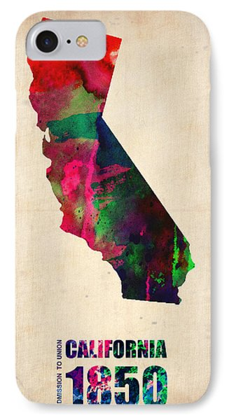 California Watercolor Map IPhone Case by Naxart Studio
