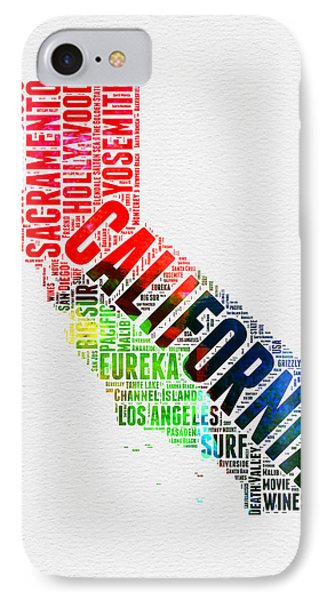 California Watercolor Word Map IPhone Case by Naxart Studio
