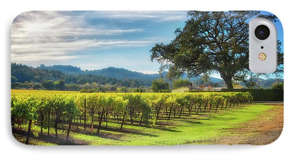 California Wine County - Sonoma Vineyard And Lone Oak Tree IPhone Case by Jennifer Rondinelli Reilly - Fine Art Photography