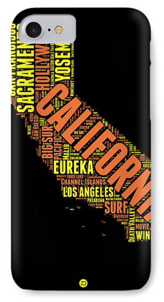 California Word Cloud Map 1 IPhone Case by Naxart Studio