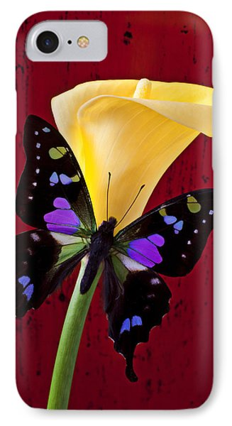 Calla Lily And Purple Black Butterfly Phone Case by Garry Gay