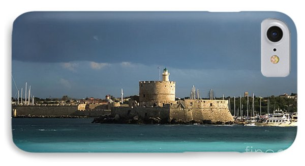 Calm After The Storm At Mandraki Harbor  IPhone Case by Amy Sorvillo