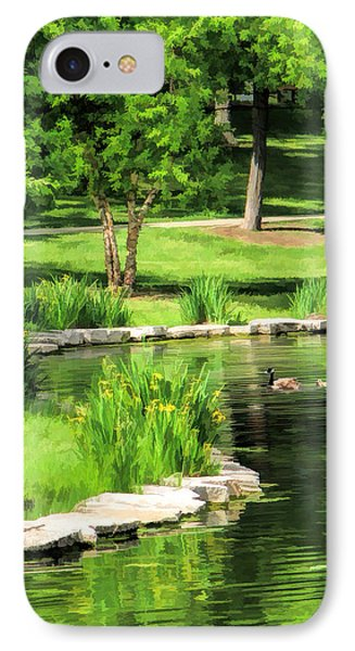 IPhone 7 Case featuring the painting Calm Lake Ellyn by Christopher Arndt