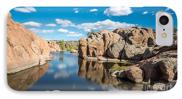 Calm Reflections At Watson Lake Phone Case by Leo Bounds