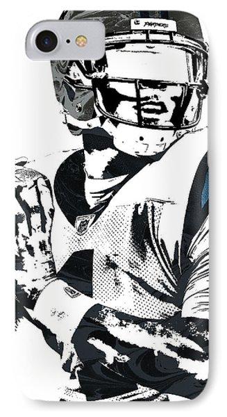 IPhone Case featuring the mixed media Cam Newton Carolina Panthers Pixel Art 3 by Joe Hamilton