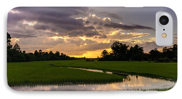 Cambodia Rice Fields Sunset IPhone Case by Mike Reid