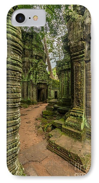 Cambodia Ta Phrom Ruins IPhone Case by Mike Reid