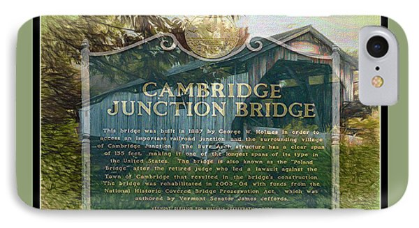 Cambridge Jct. Bridge History IPhone Case by John Selmer Sr
