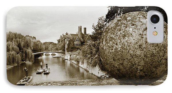 IPhone Case featuring the photograph Cambridge Punting Sepia by Eden Baed