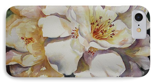 IPhone Case featuring the painting Camellias Golden Glow by Roxanne Tobaison